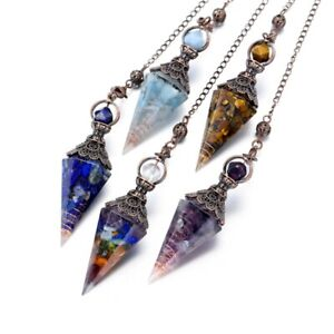 Natural Quartz Crystal Pendulum Healing Chips Stone Reiki Chakra Chain Pendant
