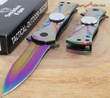 "7"" SNAKE EYE Rainbow Spear Point Fidget Spinner Tactical Spring Assisted Knife"