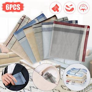 6Pcs Cotton Men Handkerchiefs Pocket Hanky Men's Square Hankie Lot Set Vintage
