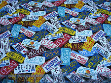 1 Yard Quilt Cotton Fabric - Timeless Treasures Travel License Plates Tossed Blk