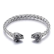 Biker Jewelry Stainless steel Wolf open men's bracelet End cuff bangle Chain