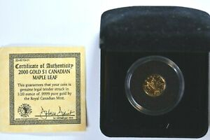 2000 GOLD $1 Canada Maple Leaf 1/20 ounce .9999 pure Royal Canadian Mint 99c NR