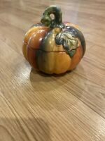 Elements Ceramic Decorative Painted Pumpkin Set w/Lid