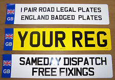 CAR NUMBER PLATES 1 PAIR  REGISTRATION PLATES WITH UNION JACK BADGE