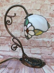 SMALL VINTAGE METAL BASE TIFFANY STYLE TABLE DESK LAMP