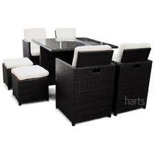 Harts PE Rattan Cube 8 Seat Dining Set Patio Conservatory Furniture in Black