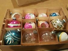Box Vtg Poland Hand Painted Unsilvered mica Garland Glass Christmas Ornaments