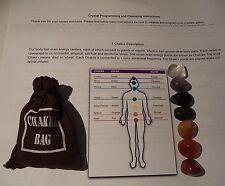 CHAKRA KIT: 7 Crystal Healing Tumbled Stones Set & Instructions & Pouch