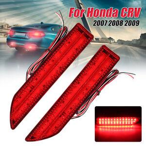Pair LED Rear Bumper Reflector Lamp Tail Fog Stop Brake Light For Honda CRV