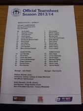 29/12/2013 Colour Teamsheet: Wigan Athletic v Burnley (folded). Thanks for viewi