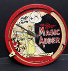 """Vintage 1950's Math Toy """"The New Magic Adder"""" Tin Litho Educational - 7.5"""" Round"""