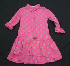 DEUX PAR DEUX girls 6 pink gold polka dot l/s ruffle bottom dress FAB