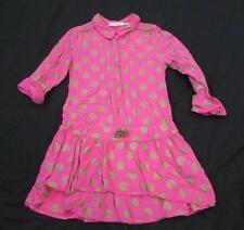 DEUX PAR DEUX girls 6 pink gold polka dot l/s ruffle bottom dress FAB