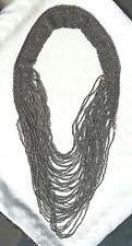 Metallic Silver Gray Multi-Stranded Woven Seed Bead 48 Boho Bali Style Necklace