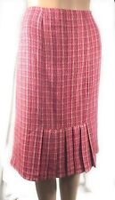 BISOU BISOU Michelle Bohbot Womens Skirt Size 6 Pink Tweed Straigt Pleated Knee