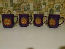 Set of 4 Halloween Coffee Cup Tumblers jack-o-lantern Purple plastic