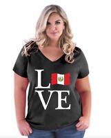 Love Peru  Women Curvy Plus Size V-Neck Tee
