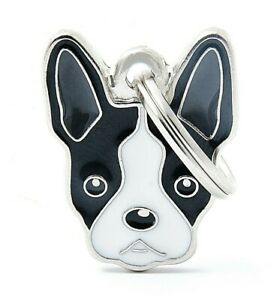 Boston Terrier Dog ID Tag (70) - Engraved FREE - Personalised - Charm - Keyring