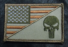 Punisher Skull Usa American Flag Army 3.0 Inch Morale Hook Patch