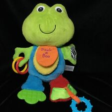 Carters Peek A Boo Frog Plush Activity Toy Teether Rattle Stuffed 12""