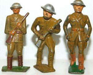Old GREY IRON 1930s Dimestore Soldiers, 3 Men Advancing w/Rifles, G25, G28, G29