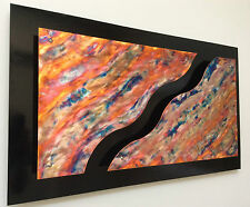 """CONTEMPORARY MODERN METAL WALL ART TITLED """"3D WAVES"""""""