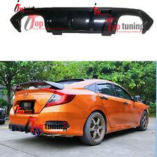 Carbon Fiber Dual-Outlet Rear Bumper Lip Diffuser for Honda Civic Sedan 16-17