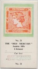 1856 Austria Red Mercury Postage Stamp Vintage Trade Ad Card