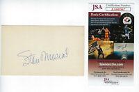 CARDINALS Stan Musial signed 3x5 index card JSA COA Huge AUTO Autographed HOFer