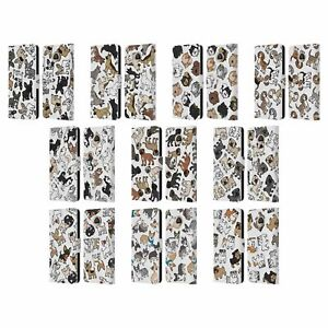 HEAD CASE DOG BREED PATTERNS LEATHER BOOK CASE & WALLPAPER FOR MOTOROLA PHONES
