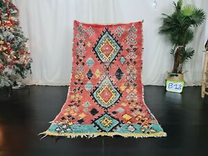 Moroccan Handmade Vintage Tribal Rug 3'7x6'6 Berber Geometric Red Cotton Carpet