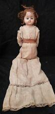 Antique Papier Paper-Mache 18� Doll Glass Eyes straw stuffed