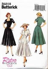 BUTTERICK SEWING PATTERN 6018 MISSES SZ 14-22 RETRO VINTAGE 1952 FLARED DRESS