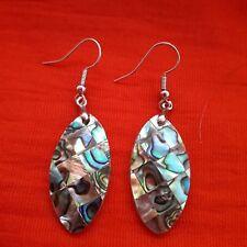 Mother of Pearl Shell Drop Earrings. Silver Hooks