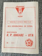 RARE 1960'S UTA ARAD FC (ROMANIA) V HUNGARY (NATIONAL TEAM) FRIENDLY PROGRAMME