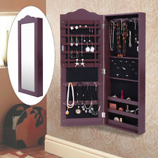 Jewelry Mirror Armoire Wall Mount Cabinet Storage Box Ring Organizer Brown