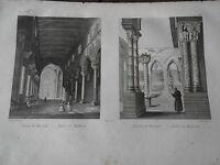 1837 INCISIONE AUDOT MONREALE CHIESA E CHIOSTRO CATTEDRALE SICILIA PALERMO