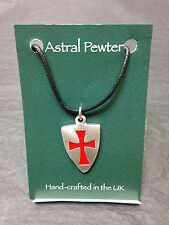 PENDANT ASTRAL PEWTER NIGHTS TEMPLAR SHIELD NECKLACE HAND CRAFTED UK FINISH NEW