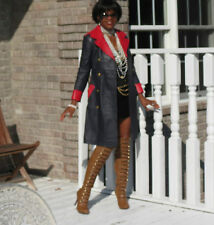 Full Length Designer blue red leather dress Trench coat jacket stroller Xs-S 0-4