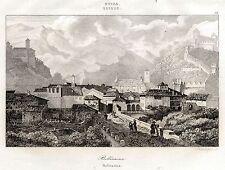 BELLINZONA: Panorama.Canton Ticino.Svizzera.Lombardia.ACCIAIO.Stampa Antica.1838