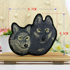 Embroidred Sew Iron on Patch Badge Cartoon Wolf Motif Bag Applique Fabric Craft
