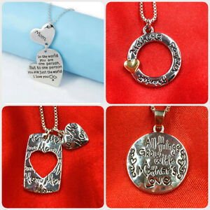 Mother Mom Mum Daughter Love Heart Silver Pendant Necklace