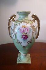 Antique porcelain hand painted Handled Pedestal Vase -Rose design gold jewelling