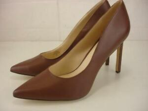 Women's 12 M Nine West Tatiana Dress Pump Brown Leather High Heels Shoes Pointed