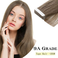 9A Grade16'' 20g 40g Tape In Remy Human Hair Extensions Straight Seamless Weave