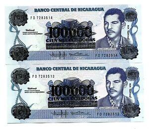 Nicaragua (P159) 100,000 Cordobas on 100 Cordobas 1989 x 2 Consecutive UNC