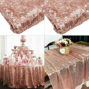 Rose pink Sparkly Gold Sequin Tablecloth Wedding Party Mesh Background 48''x72''