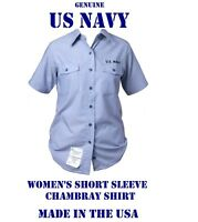 US MILITARY NAVY USN BLUE CHAMBRAY UTILITY WORK SHORT SLEEVE SHIRT WOMEN'S 36M