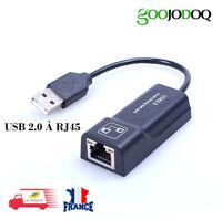 USB 2 Ethernet RJ45 LAN Adaptateur Réseau 10/100 pour Mac PC ordinateur portable