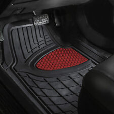 Car Floor Mats for Auto Car SUV 4pc Set All Weather Semi Custom Burgundy Black